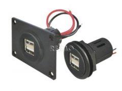 USB-Einbaudose 12/5V mit Doppel-USB 2x2,5A mit Montageplatte